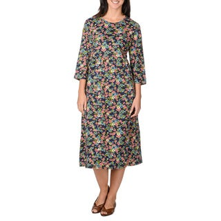 La Cera Women's Navy Floral Print Mid-length Dress