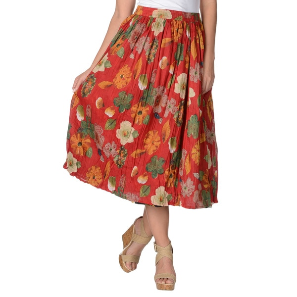 La Cera Women's Floral Print Reversible Cotton Crinkle Skirt
