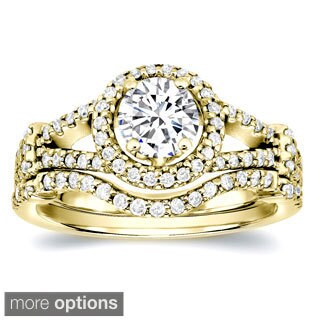 Auriya 14k Gold 1 3/4ct TDW Certified Diamond Bridal Ring Set (H-I, SI1-SI2)