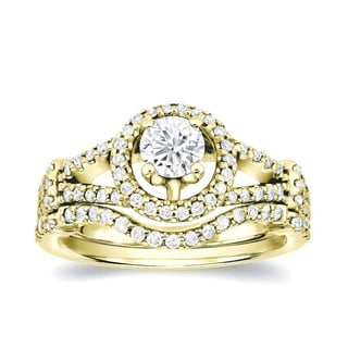 Auriya 14k Gold 1 1/4ct TDW Round Diamond Bridal Ring Set (H-I, SI1-SI2)