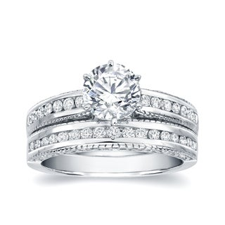 Auriya 14k White Gold 1ct TDW Round Diamond Bridal Ring Set (H-I, SI1-SI2)