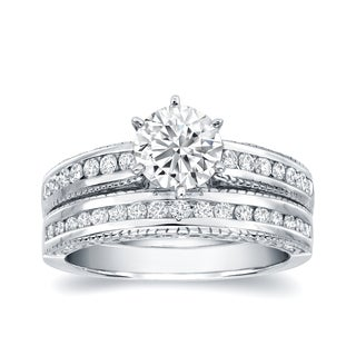 Auriya 14k White Gold 1 1/2ct TDW Certified Diamond Bridal Ring Set (H-I, SI1-SI2)
