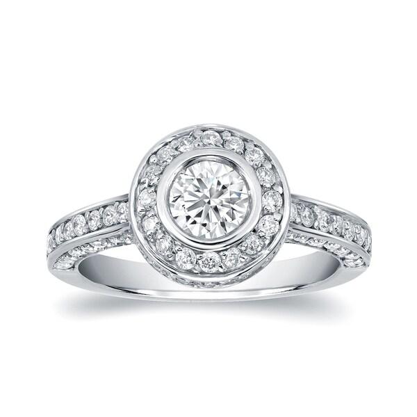 Auriya 14k White Gold 1 1/2ct TDW Diamond Bezel Set Engagement Ring (H-I, SI1-SI2)
