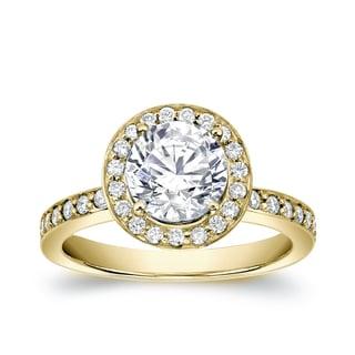 Auriya 14k Gold 1 1/2ct TDW Certified Round Cut Diamond Engagement Ring (H-I, SI1-SI2)