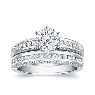 Auriya 14k White Gold 1 1/4ct TDW Certified Diamond Bridal Ring Set (H-I, SI1-SI2)