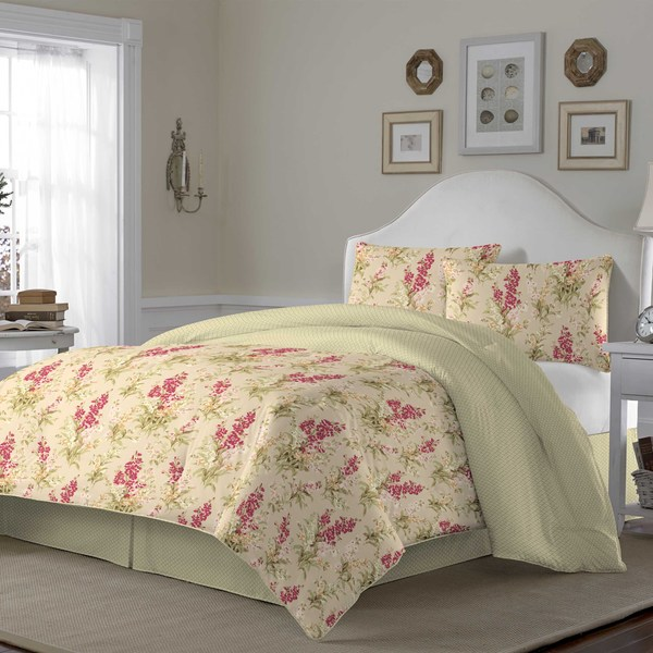 Laura Ashley Hannah Biscuit Cotton 3-piece Duvet Cover Set