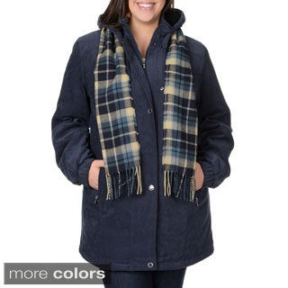 Fleet Street Women's Plus Size Microfiber Scarf Coat