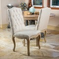 Christopher Knight Home Weathered Hardwood Studded Beige Dining Chair (Set of 2)