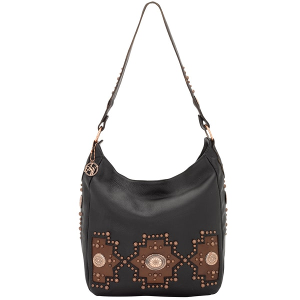 American West Black Slouch Zip-top Handbag