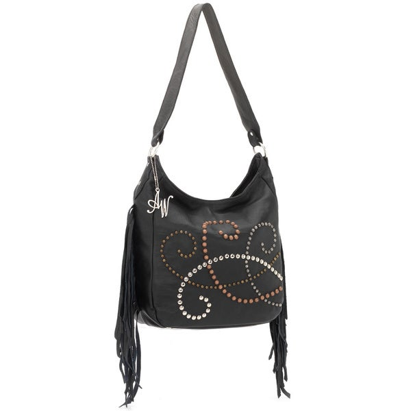 American West Black Fringed Slouch Shoulder Bag