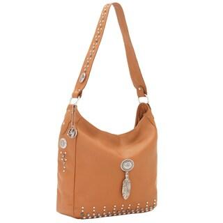 American West Golden Tan Zip-top Shoulder Bag