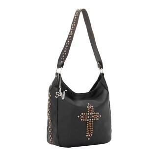 American West Black Cross Detail Slouch Zip Top Shoulder Bag