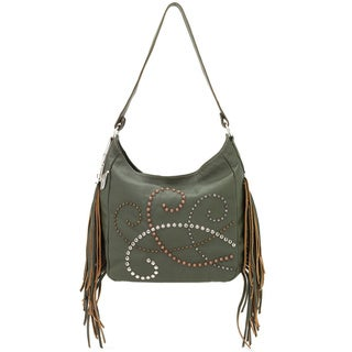 American West Forest Green Leather Slouch Shoulder Bag