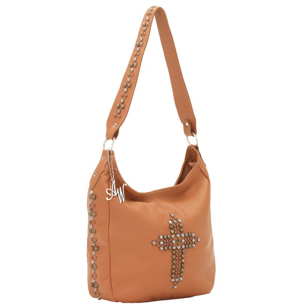 American West Golden Tan Cross Detail Leather Slouch Zip-top Shoulder Bag