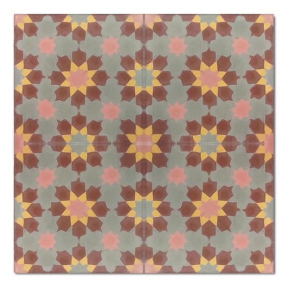 Handmade 8 x 8 Ahfir Brown Stars Cement and Granite Moroccan Tile (Morocco) (Pack of 12)