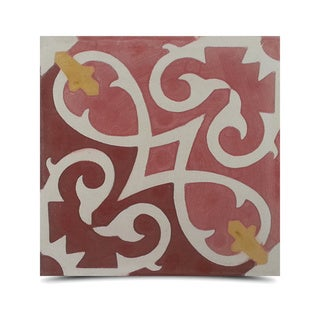 Pack of 12 Handmade 8 x 8-inch Agadir Royal Red Cement and Granite Moroccan Tile (Morocco)