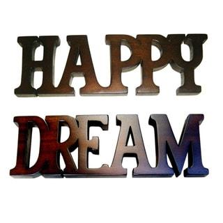 Handmade D-Art Happy and Dream Mahogany Wood Sign (Indonesia)