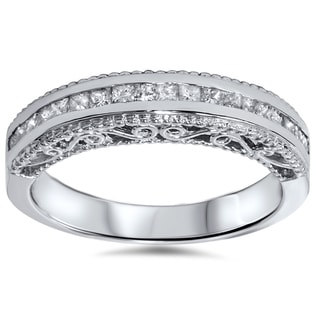14k White Gold 1/2ct TDW Princess-cut Vintage-inspired Diamond Band (H-I, I1-I2)