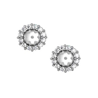14k White Gold 1/2ct TDW Halo Diamond Stud Earring Jackets (G-H, I1-I2)