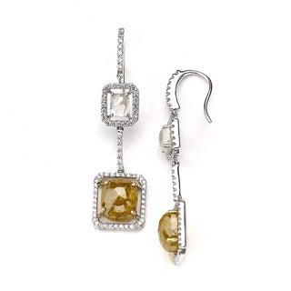 Diamonds for a Cure 18k Gold 10 4/5ct TDW Multi-color Diamond Dangle Earrings (G-H, SI1-SI2)
