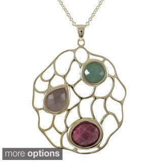 Goldplated Sterling Silver Multi-colored Gemstone Filigree Pendant Necklace