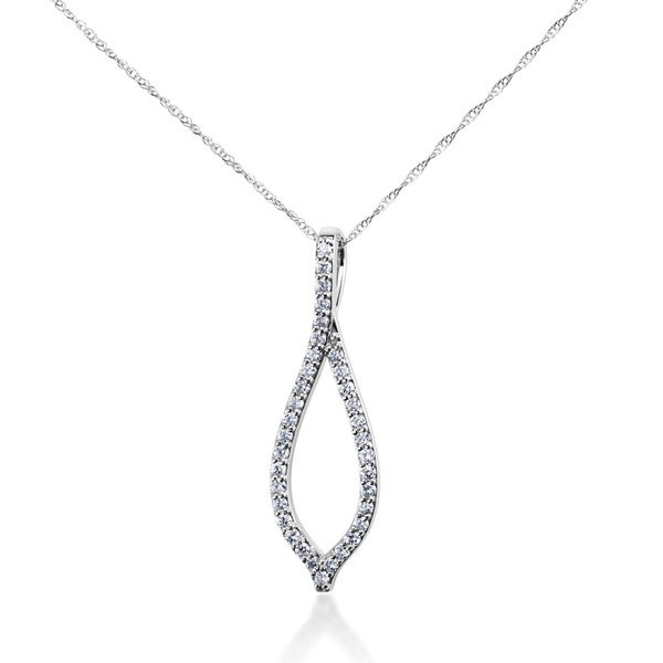 SummerRose 14k White Gold 1/3ct TDW Diamond Wishbone Pendant Cable-chain Necklace