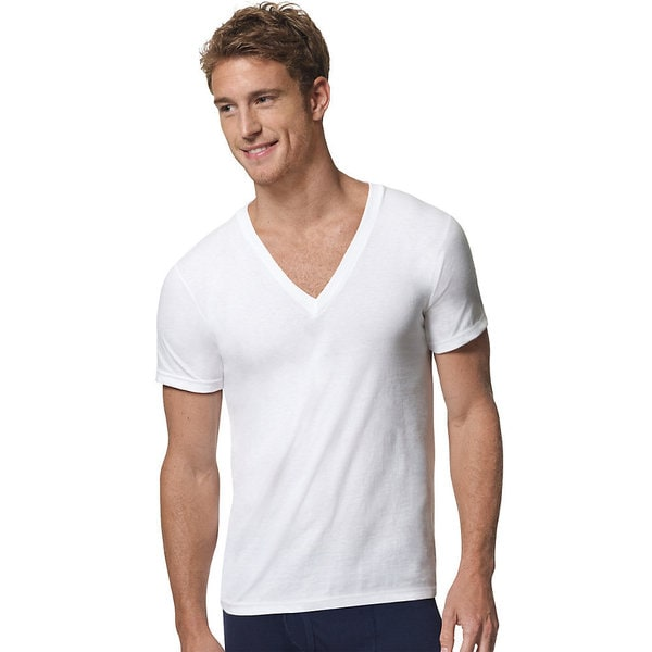 Hanes Ultimate X-Temp V-neck White Undershirt (3 Pack)