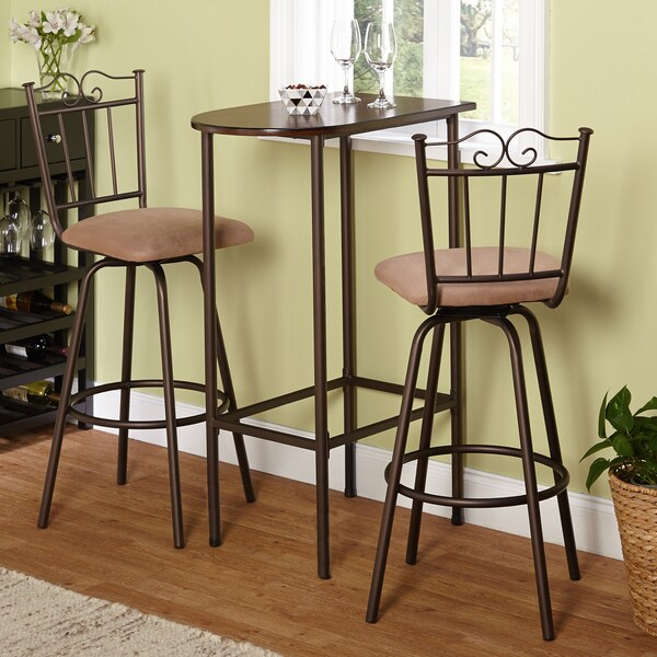 3 piece brown pub style table stool set kitchen dining for 3 piece dining room table