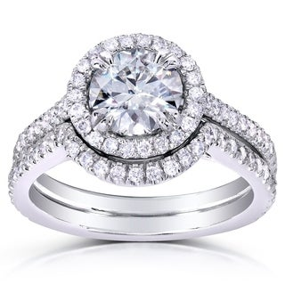 Annello 14k White Gold Round-cut Moissanite and 1/2ct TDW Diamond Bridal Set (G-H, I1-I2)