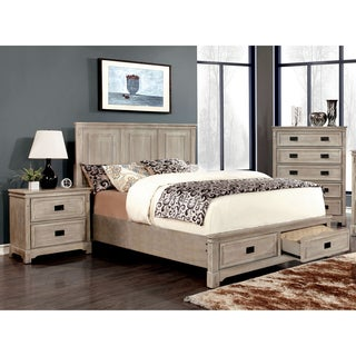Furniture of America Bodric Traditional 3-Piece Weathered Bedroom Set