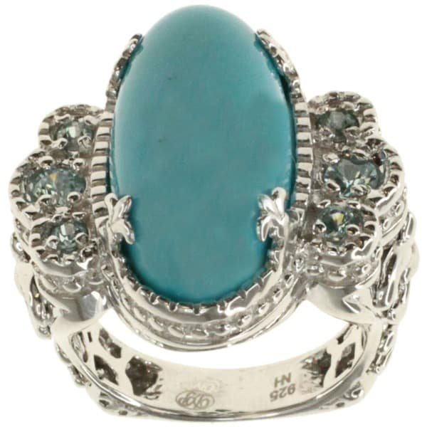 Dallas Prince Sterling Silver Turquoise and Blue Zircon Vintage Style Ring