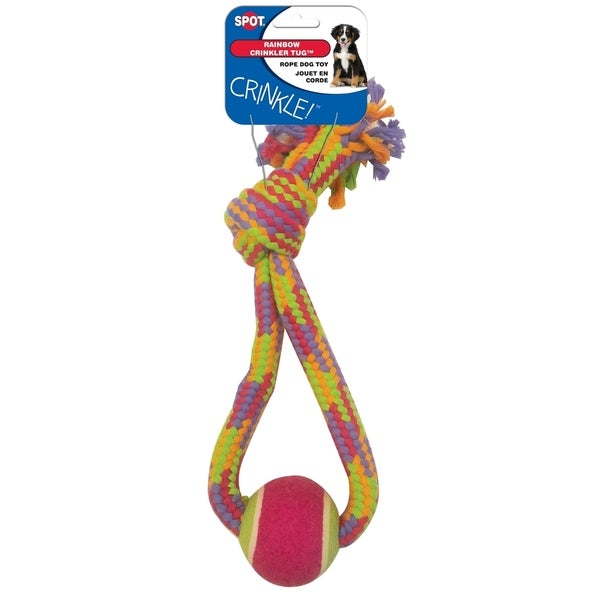 Crinkle Rope Tennis Ball Tug 13IN