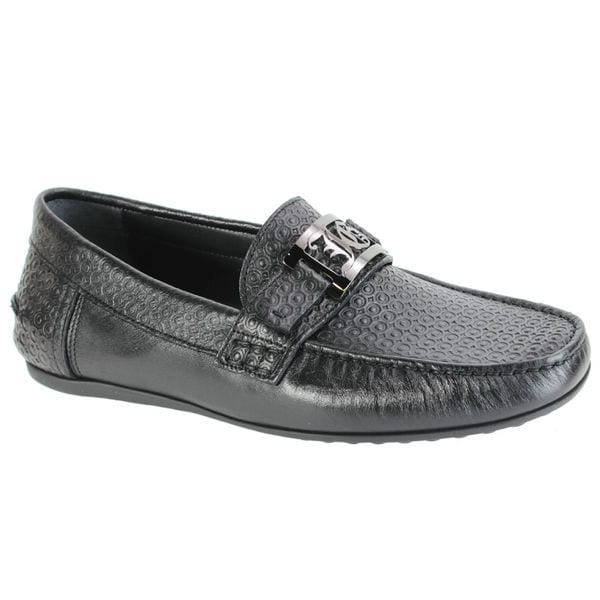 John Galliano Men's Textured Leather Black Loafers