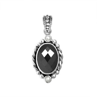 Handmade Sterling Silver Bali Faceted Oval Onyx Pendant (Indonesia)