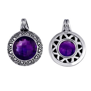 Handmade .925 Sterling Silver Bali Faceted Round Amethyst Pendant (Indonesia)