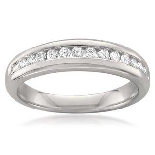 Montebello 14k White Gold 1/4ct TDW Round-cut Diamond Wedding Band (G-H, SI1)