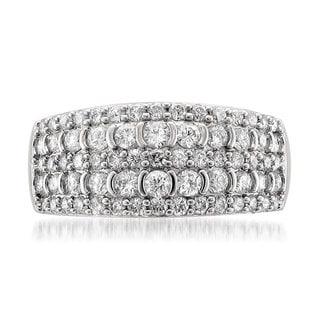 14k White Gold 1ct TDW Pave 5-row Diamond Band (H-I, VS2)