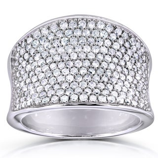 Annello 10k White Gold 1 1/4ct TDW Pave Diamond Anniversary Wide Ring (H-I, I1-I2)