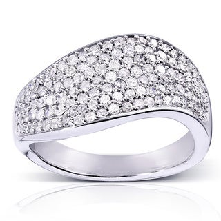 Annello 10k White Gold 3/5ct TDW Pave Set Round Diamond Ring (H-I, I1-I2)