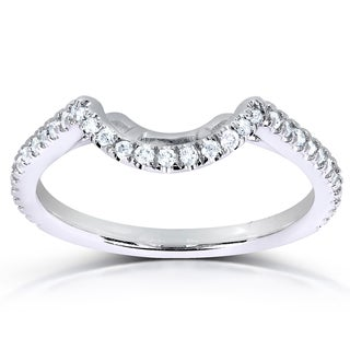 Annello 14k White Gold 1/5ct TDW Curved Diamond Wedding Band (G-H, I1-I2)