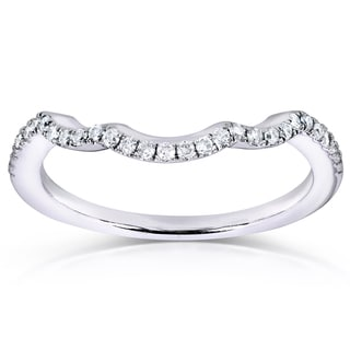 Annello 14k White Gold 1/6ct TDW Contoured Diamond Wedding Band (G-H, I1-I2)