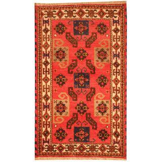 Herat Oriental Indo Hand-knotted Tribal Kazak Pink/ Grey Wool Rug (3' x 5')