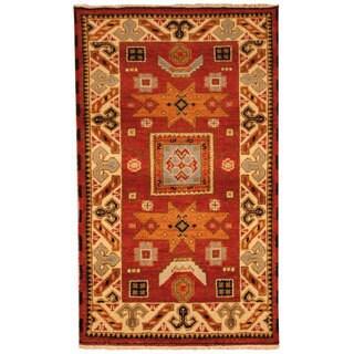 Herat Oriental Indo Hand-knotted Tribal Kazak Red/ Blue Wool Rug (3' x 5')