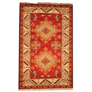 Herat Oriental Indo Hand-knotted Tribal Kazak Orange/ Ivory Wool Rug (3' x 5')