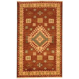 Herat Oriental Indo Hand-knotted Tribal Kazak Brown/ Light Green Wool Rug (3' x 5')