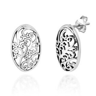 Oval Decorative Swirls Sterling Silver .925 Post Earrings (Thailand)