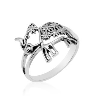 Lovely Elephant Daisy Adorned .925 Silver Ring (Thailand)