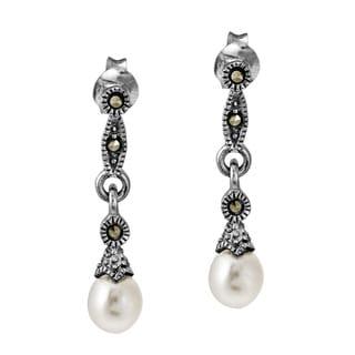 Vintage Links Freshwater Pearl Drop .925 Silver Earrings (Thailand)
