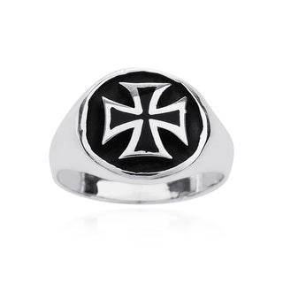 Enclosed Maltese Iron Cross .925 Sterling Silver Ring (Thailand)