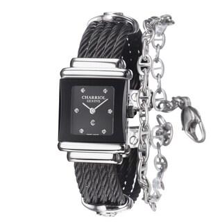 Charriol Women's SSTRBN1.545.RE005 'St Tropez' Black Diamond Dial Stainless Steel Bracelet Watch